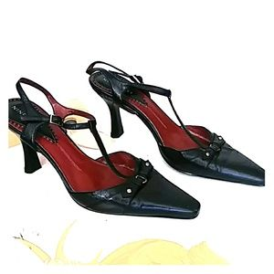 💋SALE💋Nine West Red/Black Leather Heels Si2xe 8M